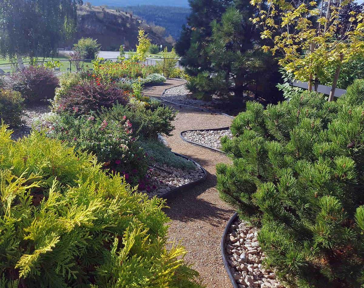 Stunning front yard landscaped autumn garden