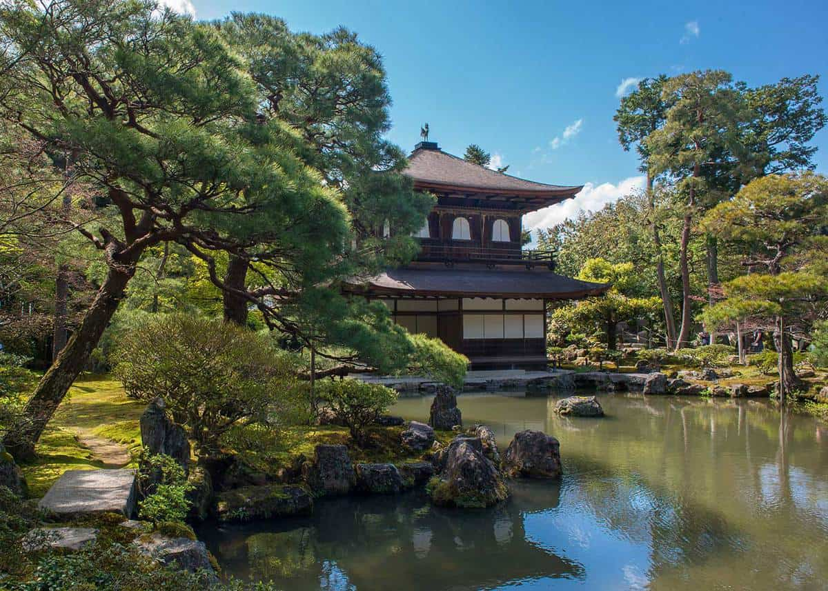 The tradional japanese style garden of temple in japan