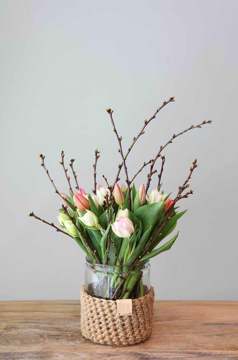 Tulip-bouquet-in-homemade-jute-crochet-vase