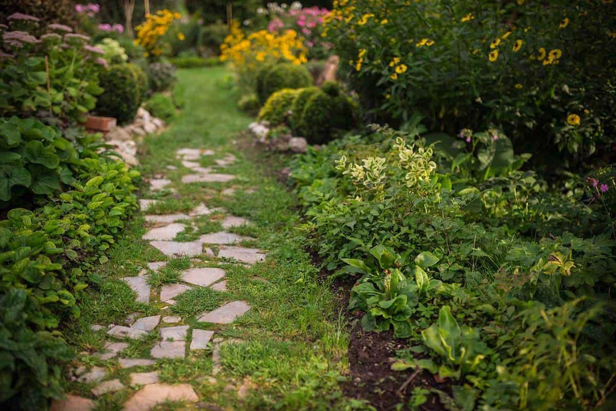 Vintage garden decoration path