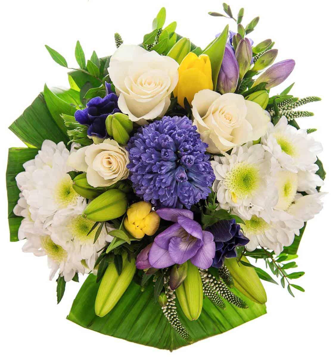 Beautiful white, purple, yellow tulip bouquet arrangements