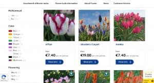 Fluwel website product page for tulip bulbs