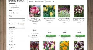 Grow Organic website product page for tulip bulbs