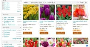 High Country Gardens website product page for tulip bulbs