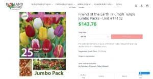 Holland Beauty website product page for tulip bulbs