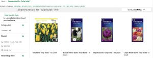 Menard's website product page for tulip bulbs