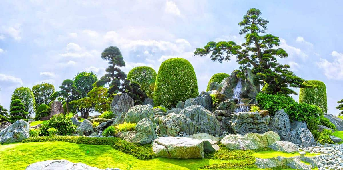 Bonsai garden beauty with many cypress, pine, stone architecture and ancient trees