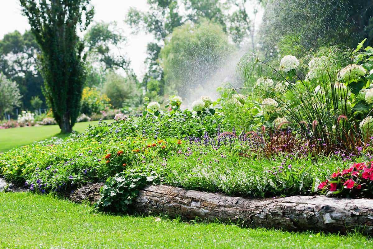 Formal garden with water sprinkler