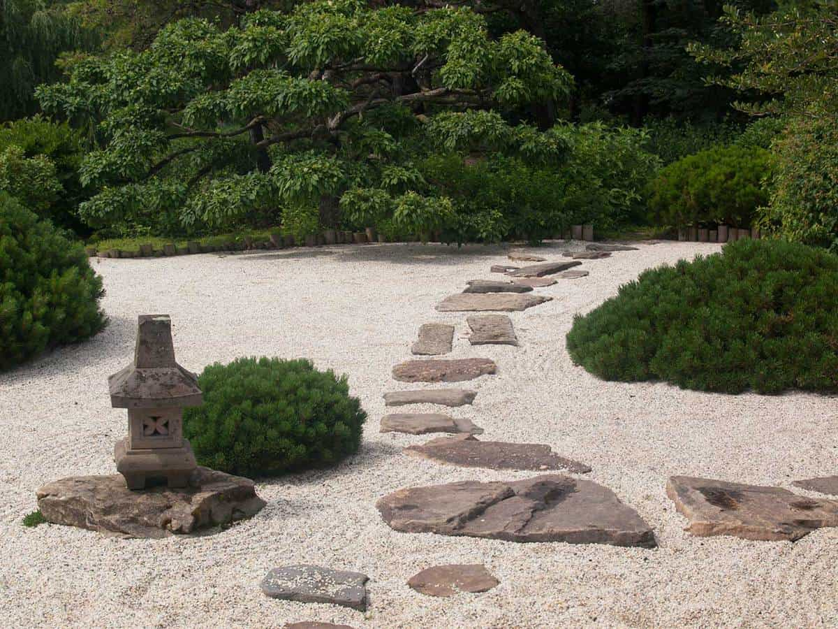 Green shrubbery and a stone pathway in a japanese zen garden