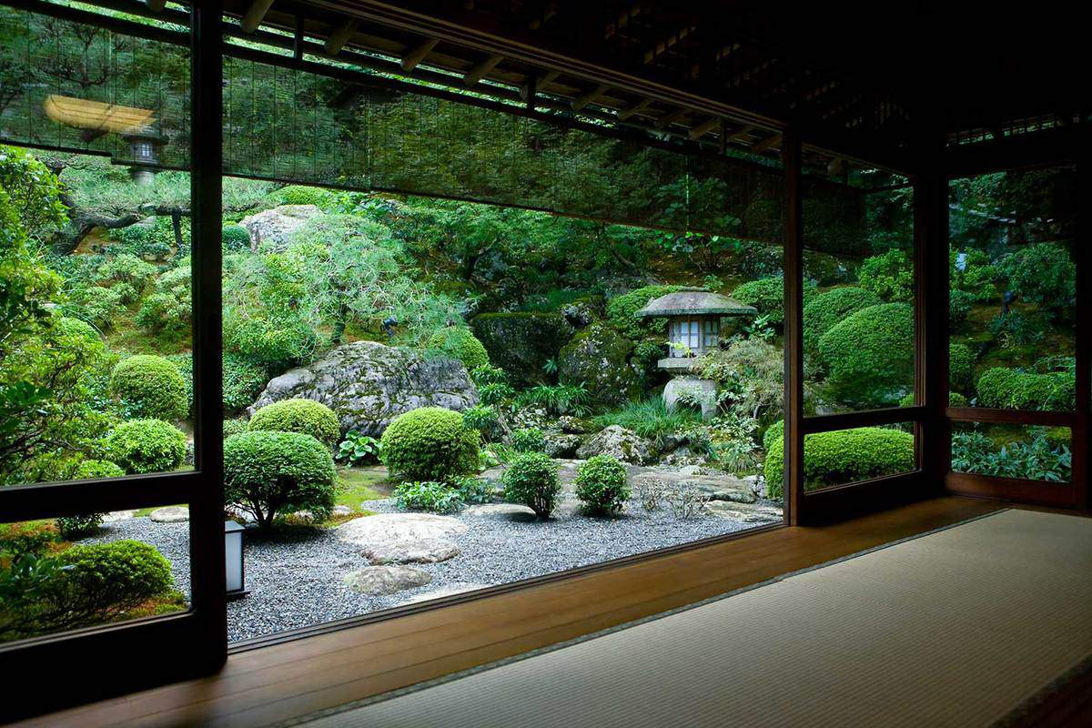 Japanese garden seen from inside a traditional tatami room