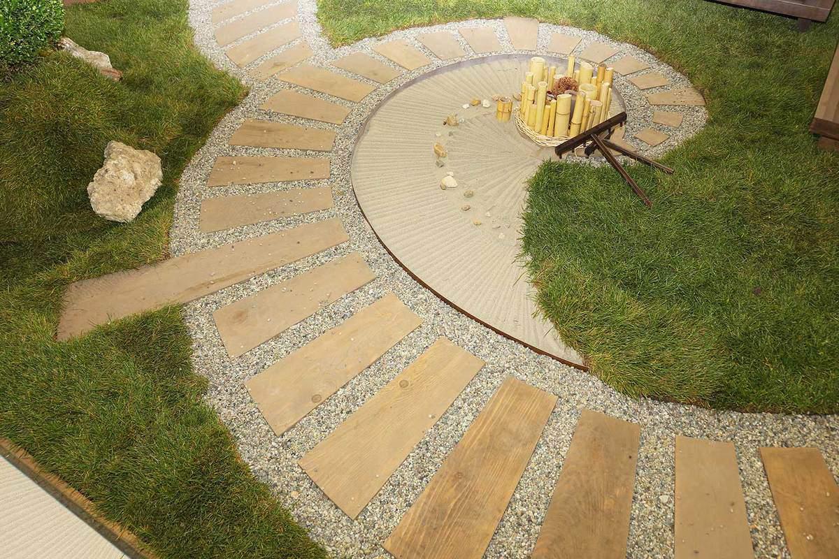 Japanese style zen garden in spiral dry landscape