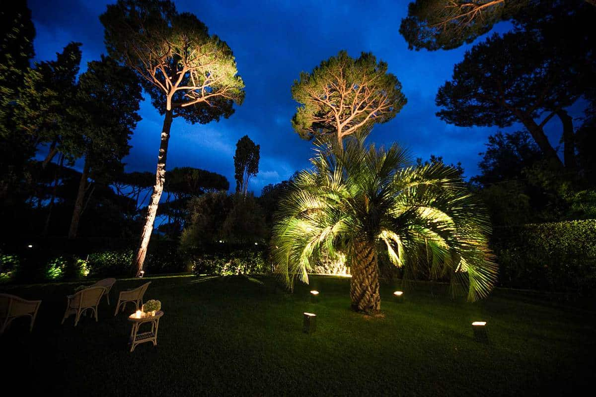 Landscaped garden during night time