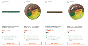 Home Depot's site for garden edging
