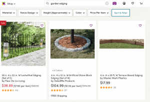 Wayfair's site for garden edging