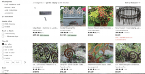 Etsy's site for garden edging