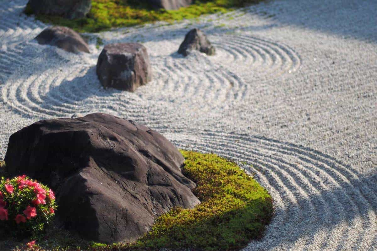 Temple zen garden with beautifully arranged rocks