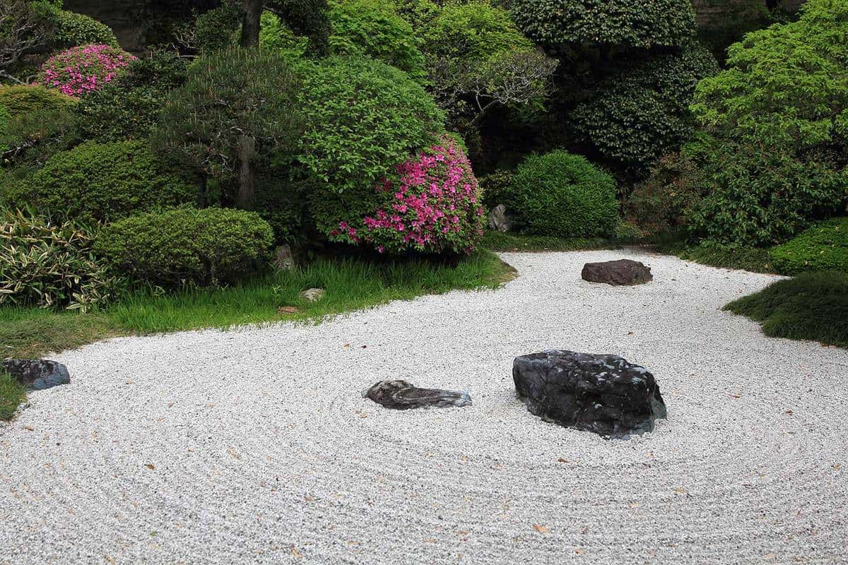 Traditional japanese garden made of small stone expressing patterns of water