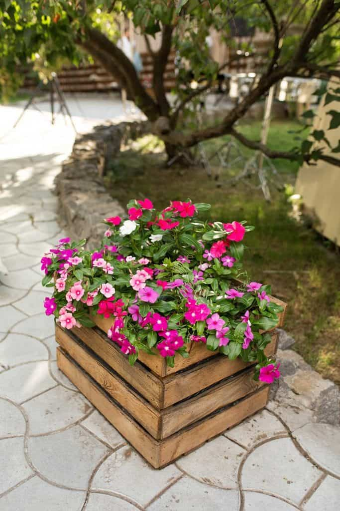 Wooden box with beautiful pink and red flowers
