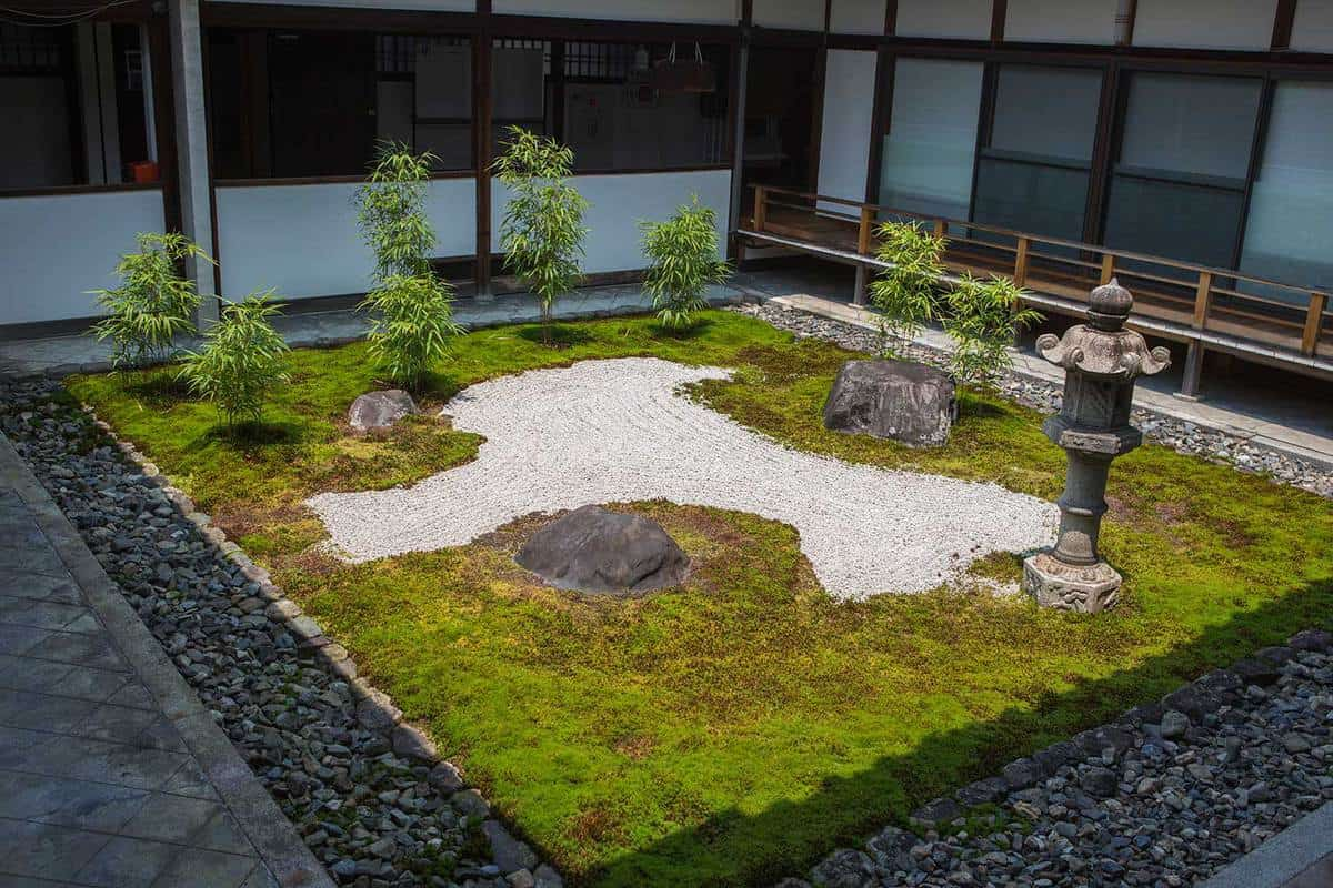 Zen garden at a temple in Japan with beautifully arranged rocks