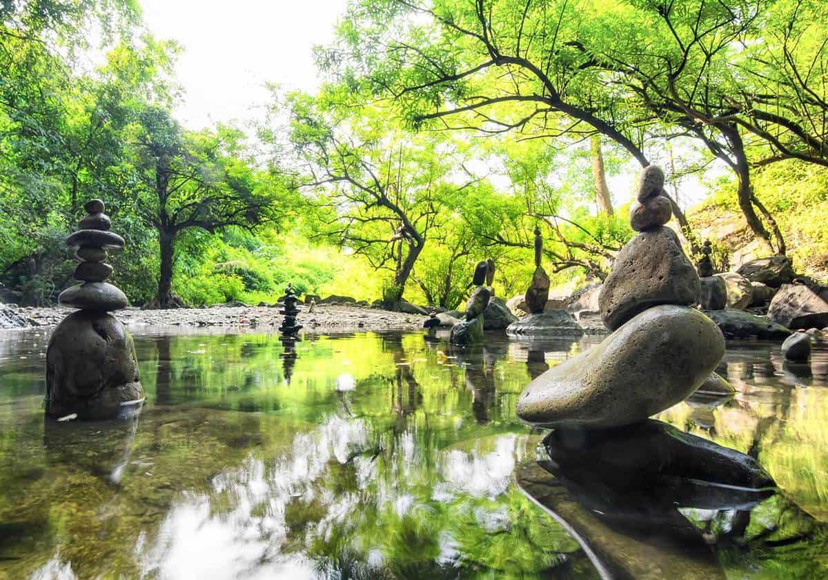 Zen meditation landscape in a calm and spiritual nature environment