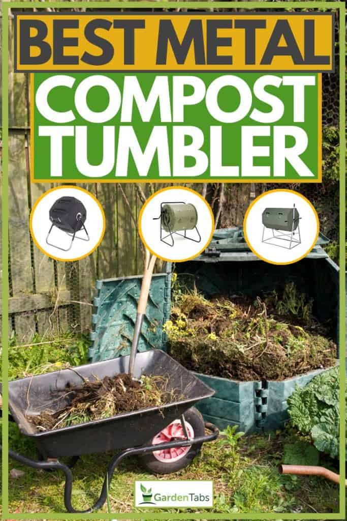 Wheel barrow with shovel and compost materials on it, Best Metal Compost Tumblers