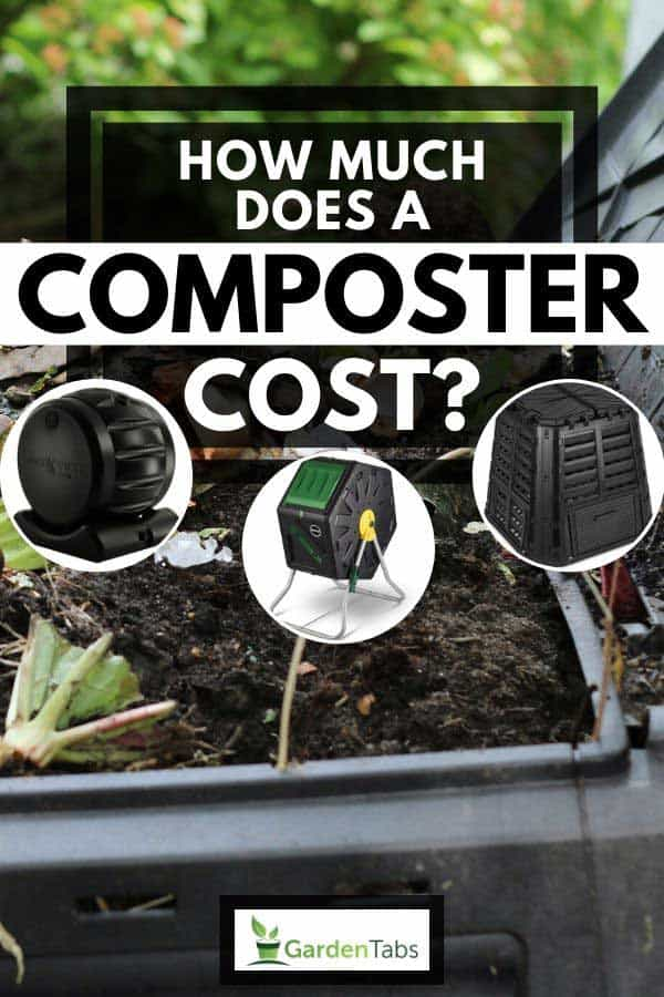 Collage of composter with compost bin full of decomposed food waste