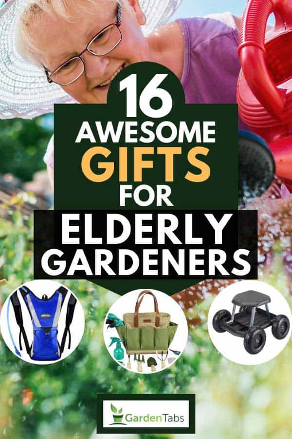Collage of gardening tools with elderly woman in the background watering her plants