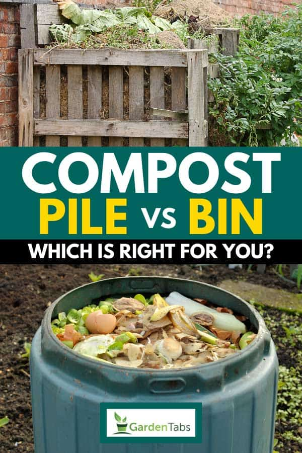 Collage of organic compost pile with waste vegetables and compost bin full of kitchen food and garden waste