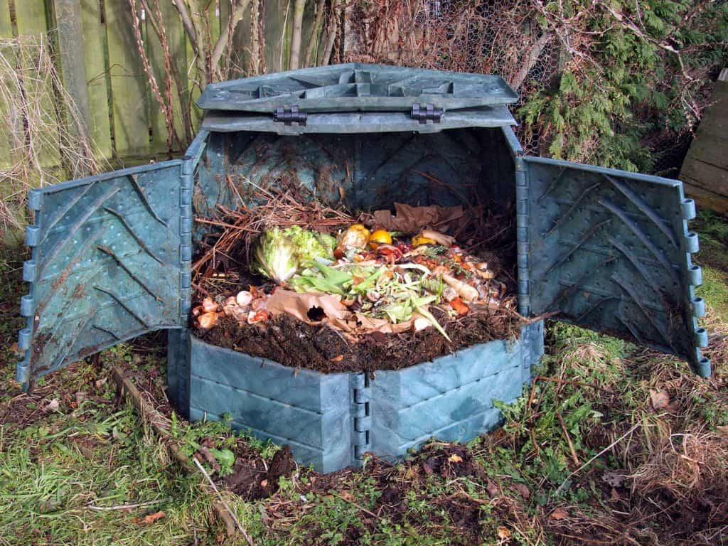 Compost bin with twigs, vegetables, fruits and paper
