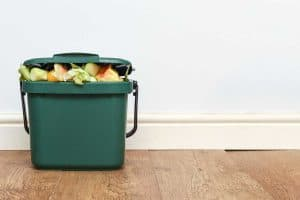 Green compost caddy composing of unused vegetables and fruits