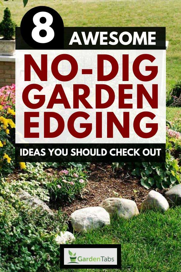No dig garden edging made of stone in a beautiful landscaped yard