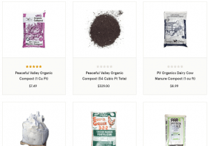 Grow Organic website products page