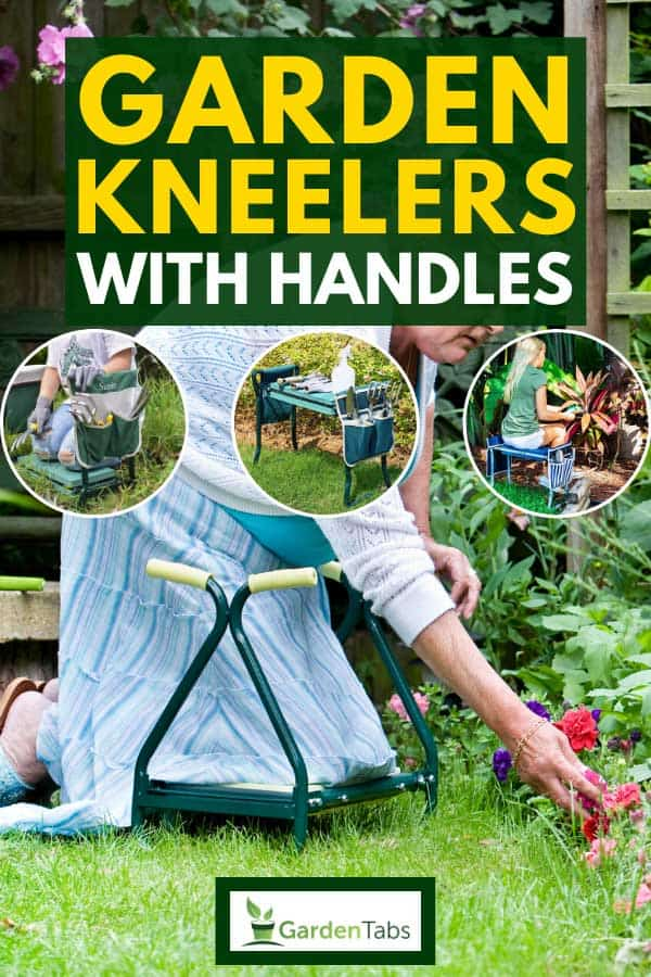 Senior lady making use of a garden kneeler to help her kneel and return standing so she can continue to tend to her garden, Garden Kneelers With Handles