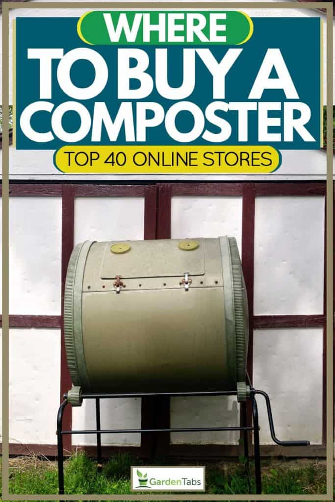 Composter placed next to garden shed, Where To Buy A Composter [Top 40 online stores]