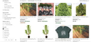 Etsy website product page for pine trees