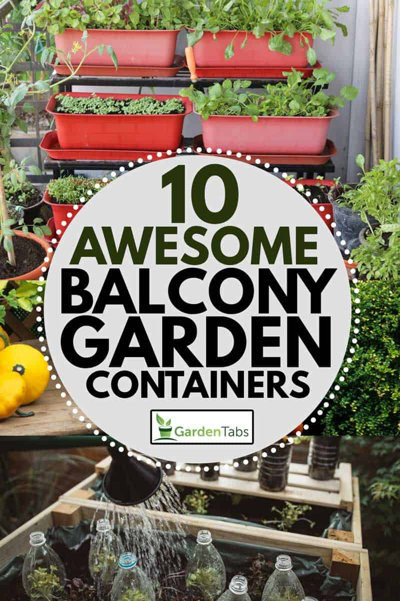 A collage of balcony gardening using pots, planters and used plastic bottles, 10 Awesome Balcony Garden Containers