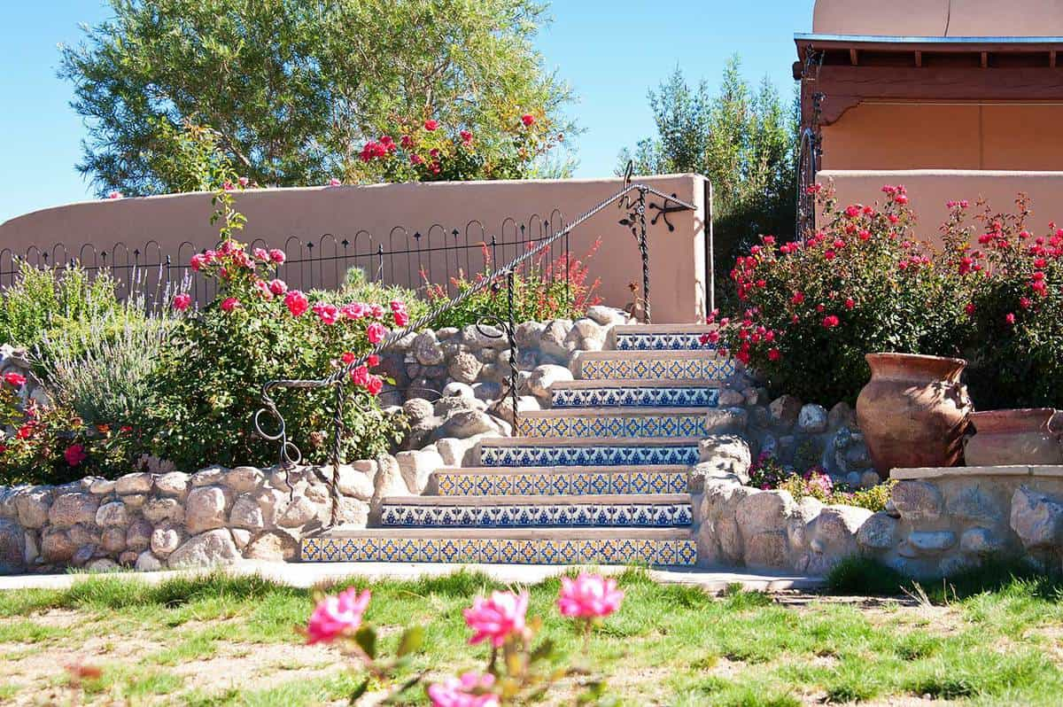 Spanish Talavera Tiles Stairs in Santa Fe Garden