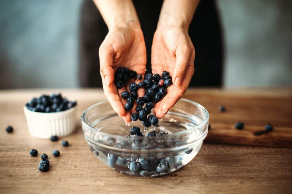 Woman holding handful of homegrown blueberries