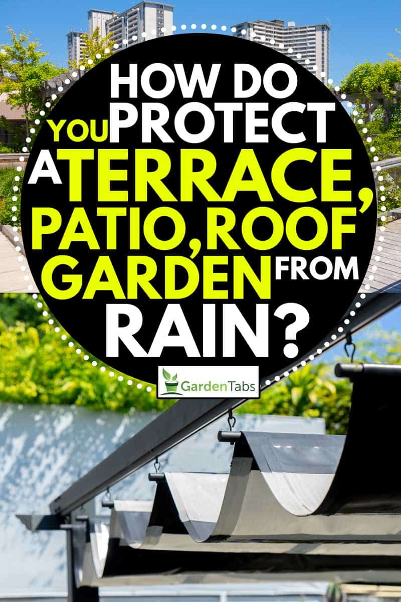 Collage of roof Garden on the top of an apartment building and Retractable awning for outdoor interior design, How Do You Protect a Terrace, Patio or Roof Garden From Rain?