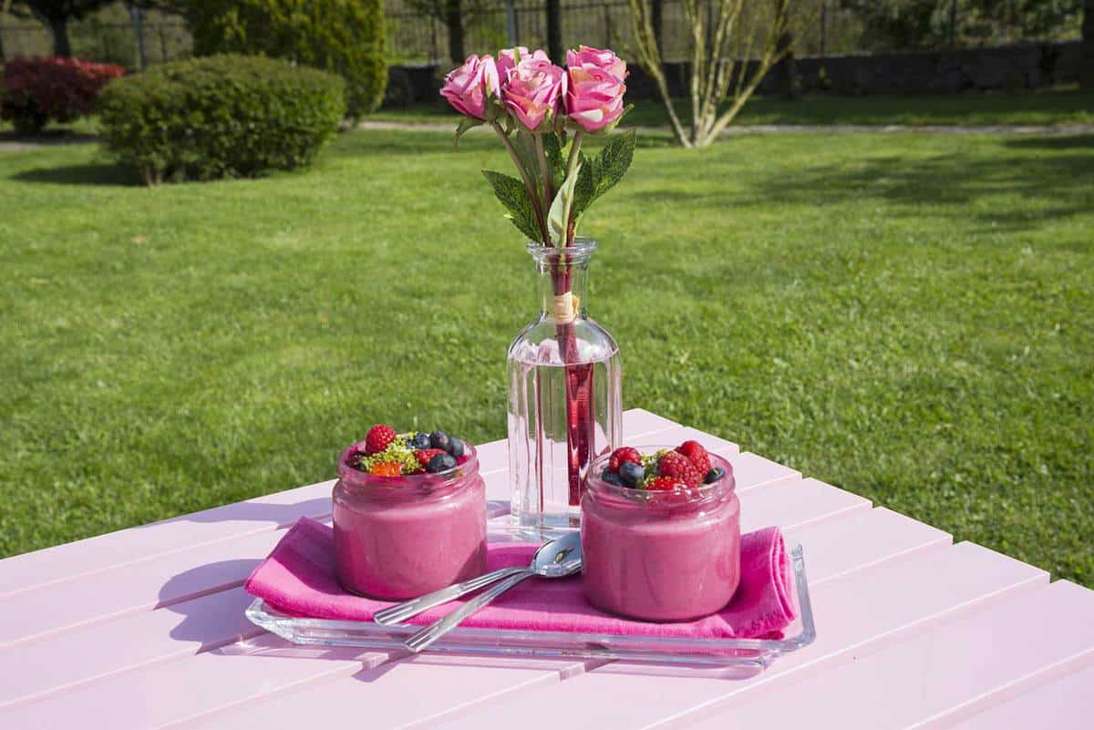 Pink magnolia rose ice cream dessert