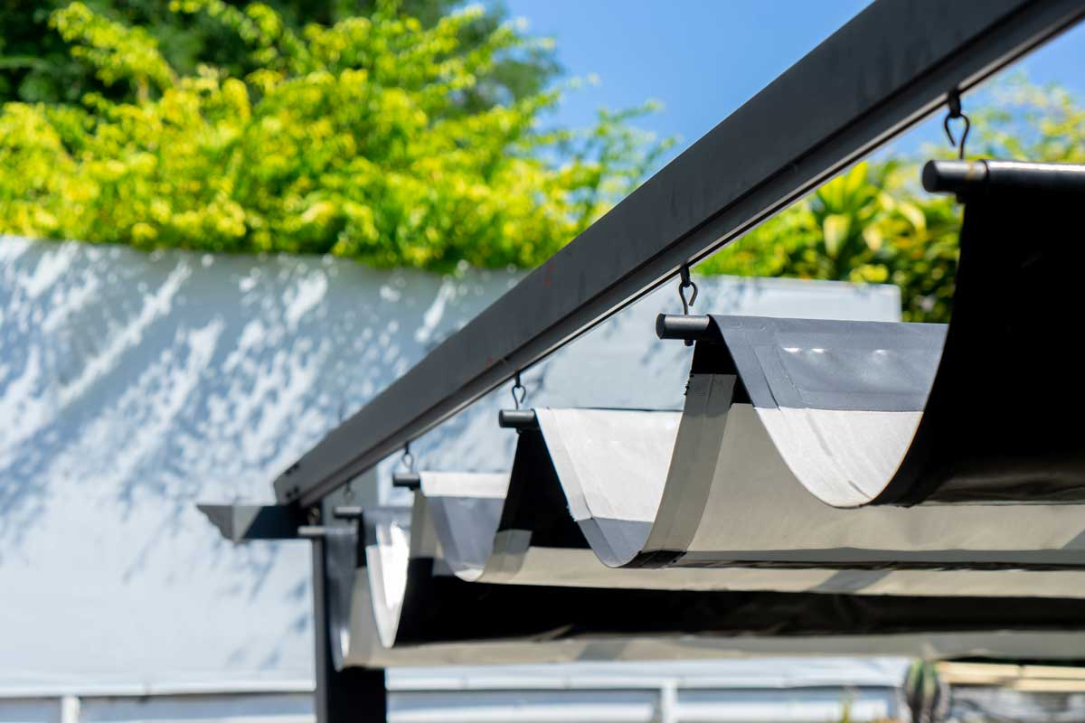 Retractable awning for outdoor interior design
