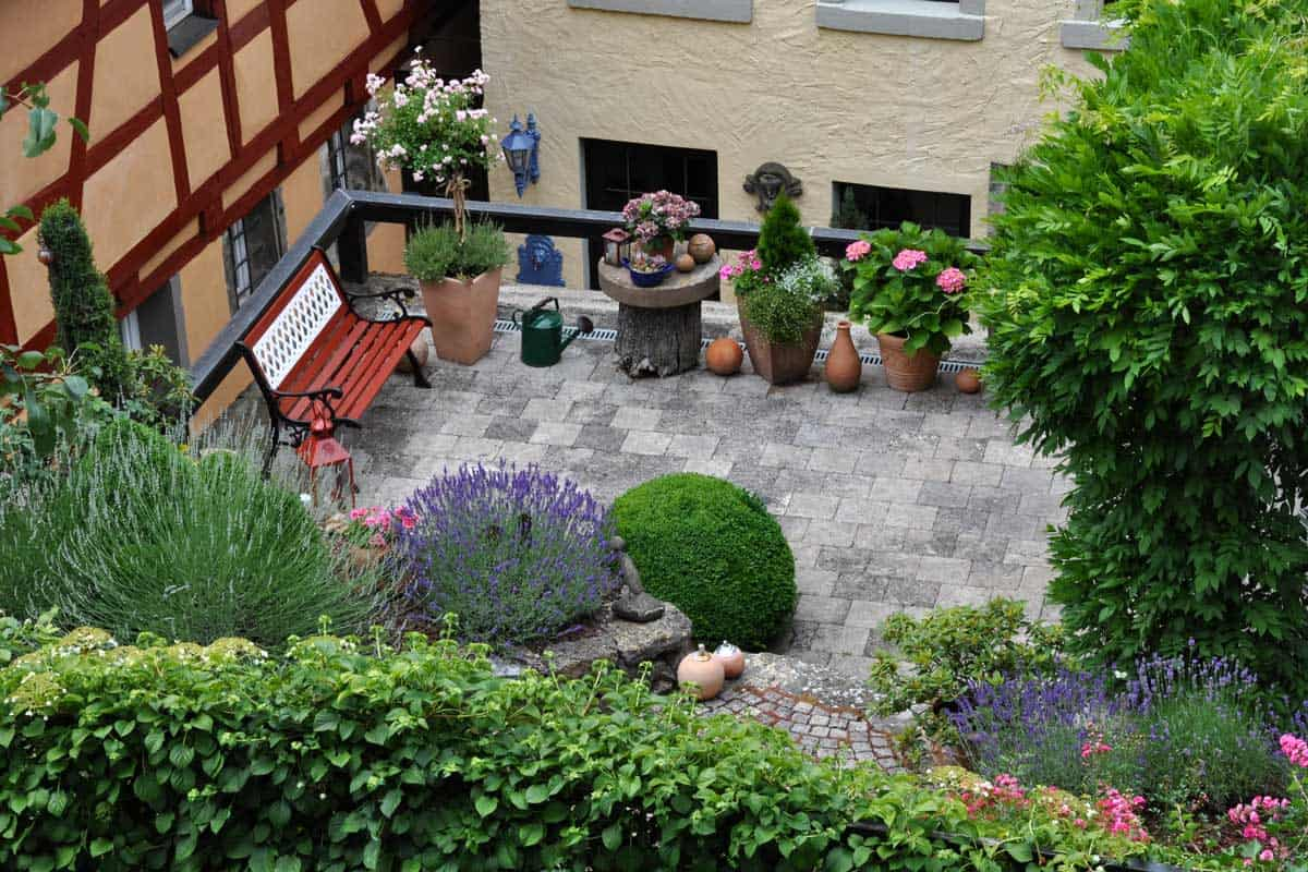 Rooftop patio garden in Germany
