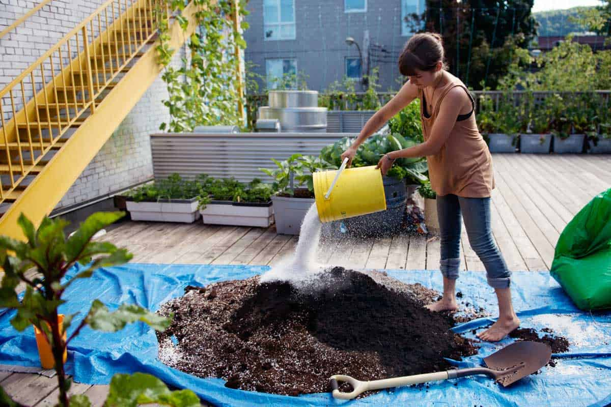 Young women mixing soil and compost in a rooftop community garden, How Do You Prepare Soil For A Roof Garden?
