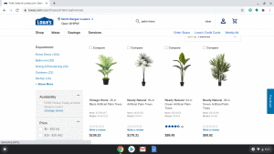Lowes page showing palm trees for sale