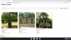 Planting Tree page showing palm trees for sale