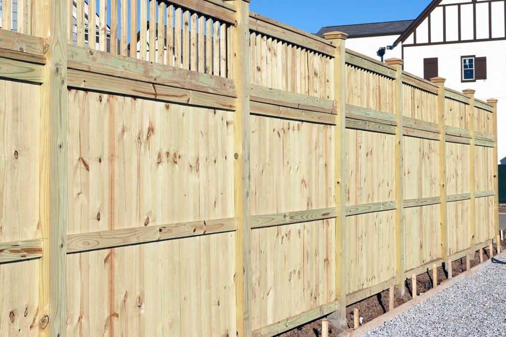 Wood fence in a housing subdivision