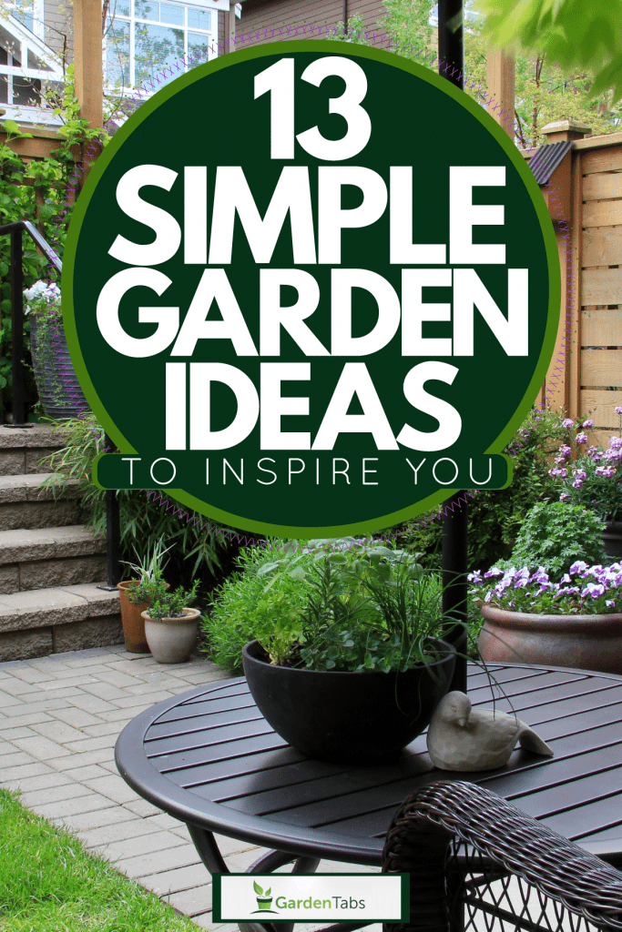 Modern inspired backyard with different shrubs and other colored plants, 13 Simple Garden Ideas To Inspire You