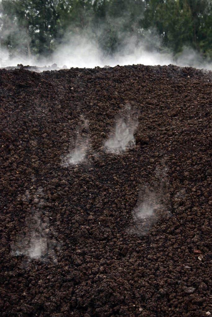 Smoking organic compost due to fermentation