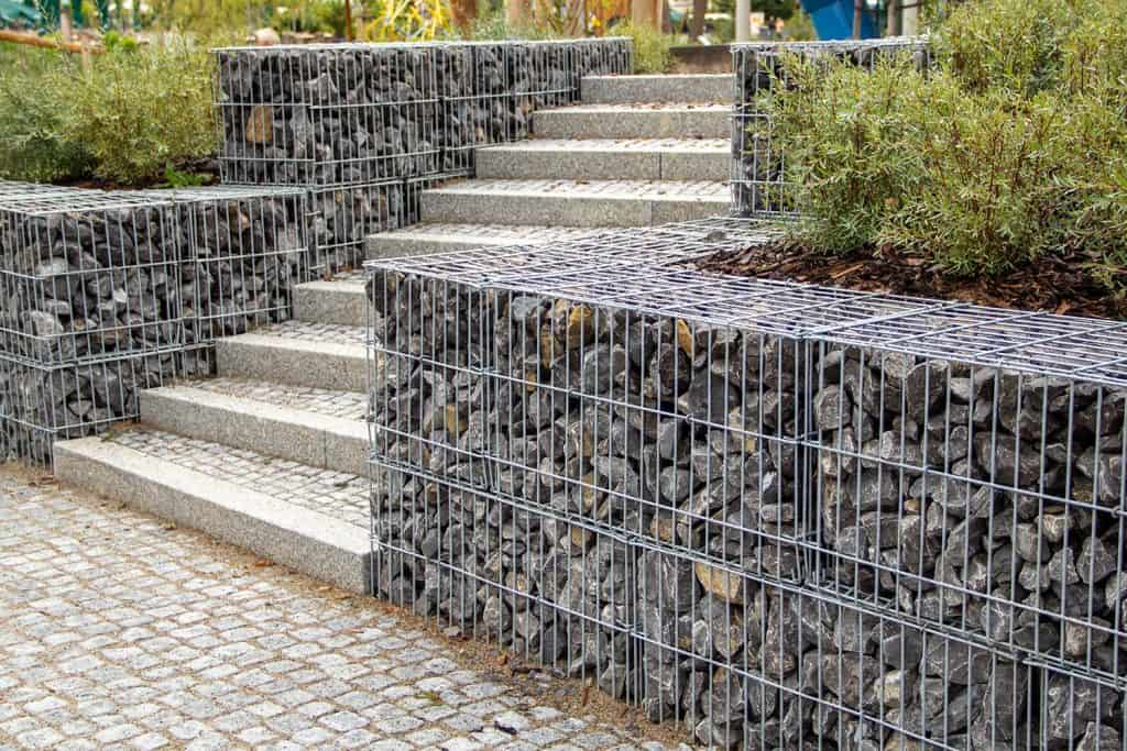 Stone staircase between stone baskets