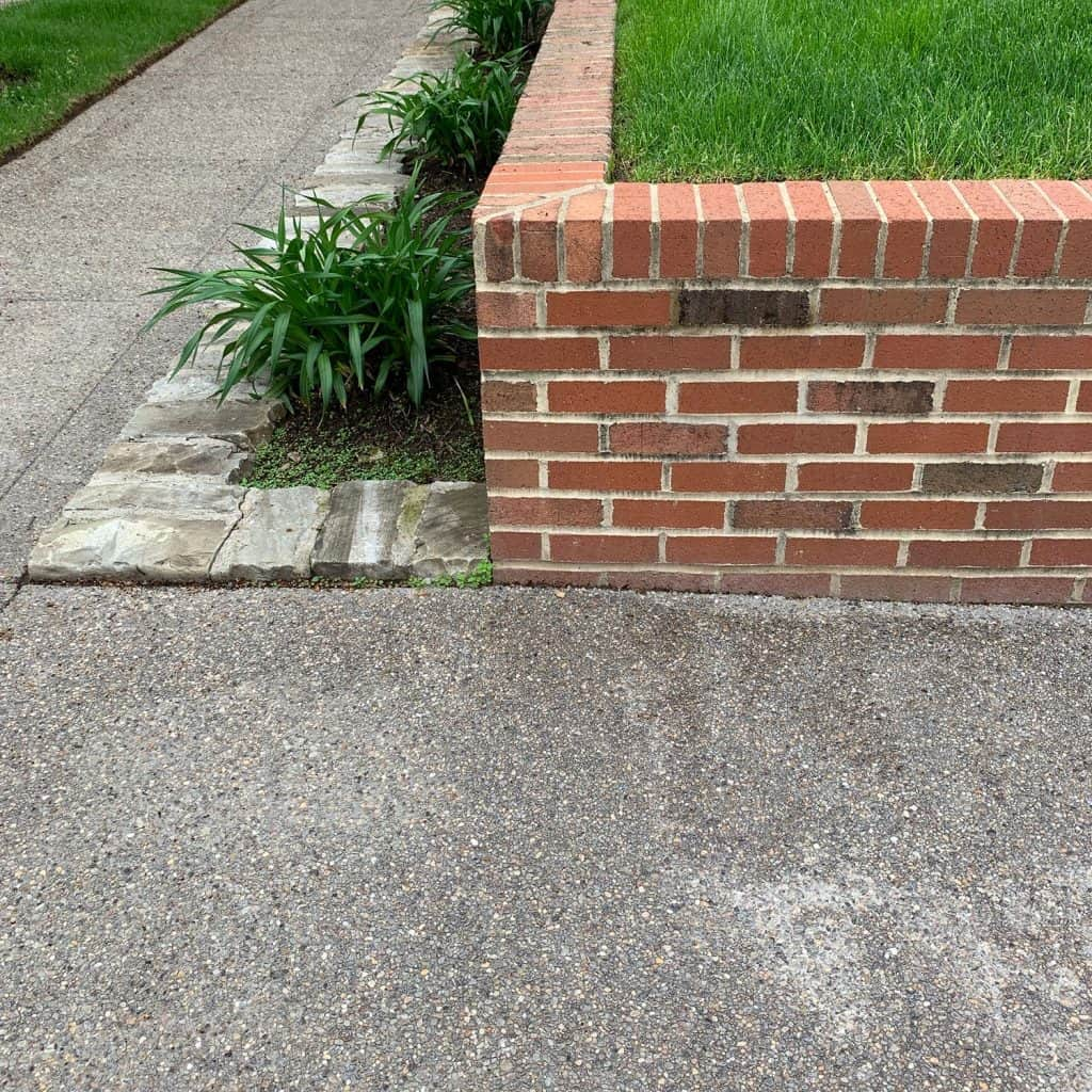 Brick retaining wall with nice landscaping